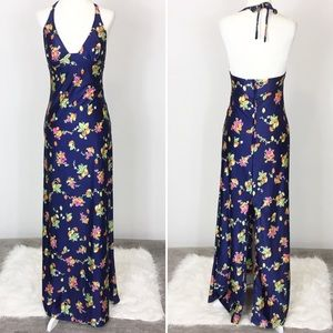 Vintage fruit print halter maxi dress